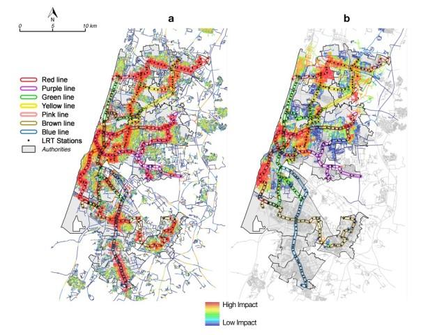 הערכת השפעה של מערכת רכבת קלה על מרכזיות